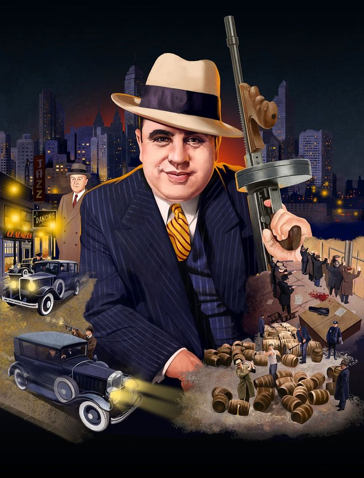 "Al Capone / Valentine's Day Massacre & mentor John torrio papa johnny or the ""FOX"" (left side) artwork....VERY COOL!!"