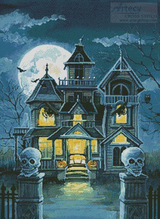 Artecy Cross Stitch. Haunted House Cross Stitch Pattern to print online.