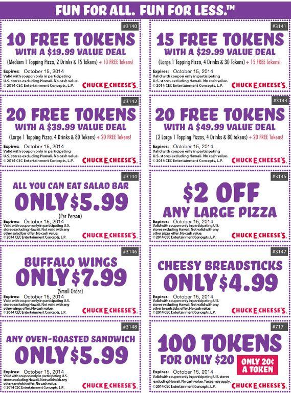 chuck e cheese coupons 2017