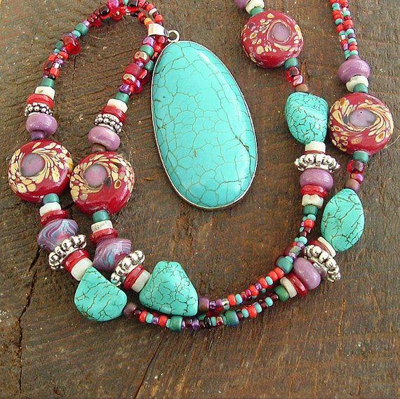 Chunky Boho Necklace, Southwest Necklace, Bohemian Jewelry, Turquoise Jewelry, Sundance. $120,00, via Etsy.