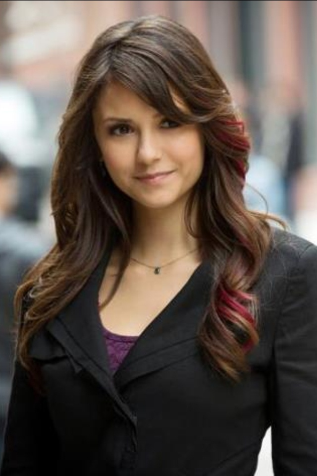 Red Streaked Hair: The Vampires Diaries, Hairstyles, Elena Gilbert, Ninadobrev, Pink Highlights, Hair Cut, Hair Style, Nina Dobrev, Red Highlights