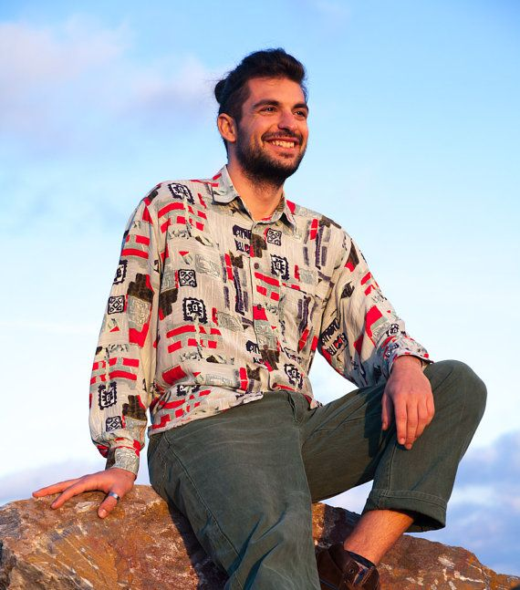 Vintage Crazy Pattern Shirt, Light Green, Intense Red, Navy Blue, Long Sleeve…