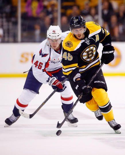 Boston Bruins #46 David Krejci and Washington Capitals #46 Michael Latta
