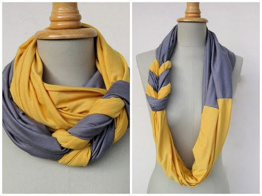 """Put Up Your Dukes: braided scarf tutorial.  Need 2 fabric rectangles 15""""-18""""x 52-60"""" from fabric store or t-shirt body, and a bit of matching thread.  Perfect for team spirit!  Don't have enough fabric?  Make a headband!"""