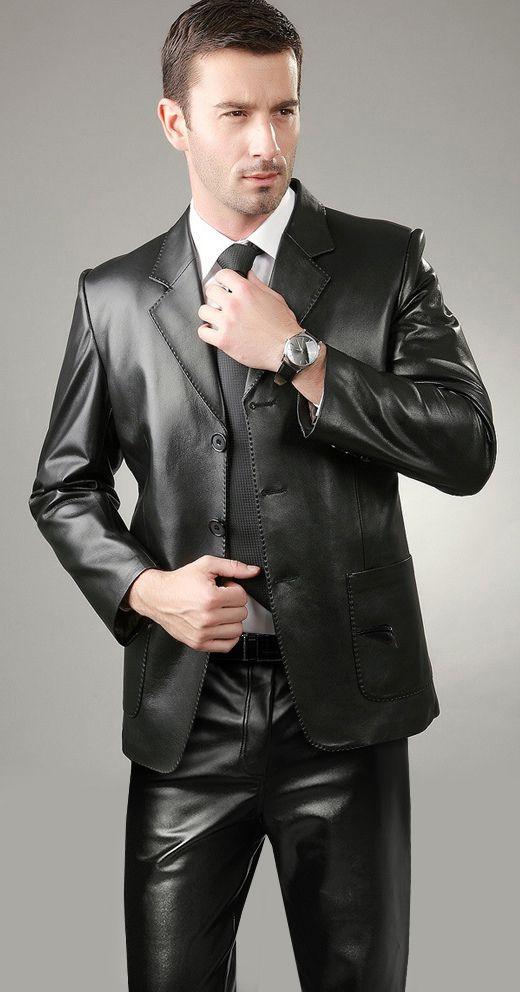 Mens Leather Dress Coat