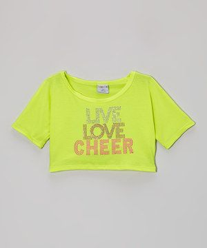 This Yellow 'Live Love Cheer' Rhinestone Crop Top - Girls by Happy Kids for Kids is perfect! #zulilyfinds