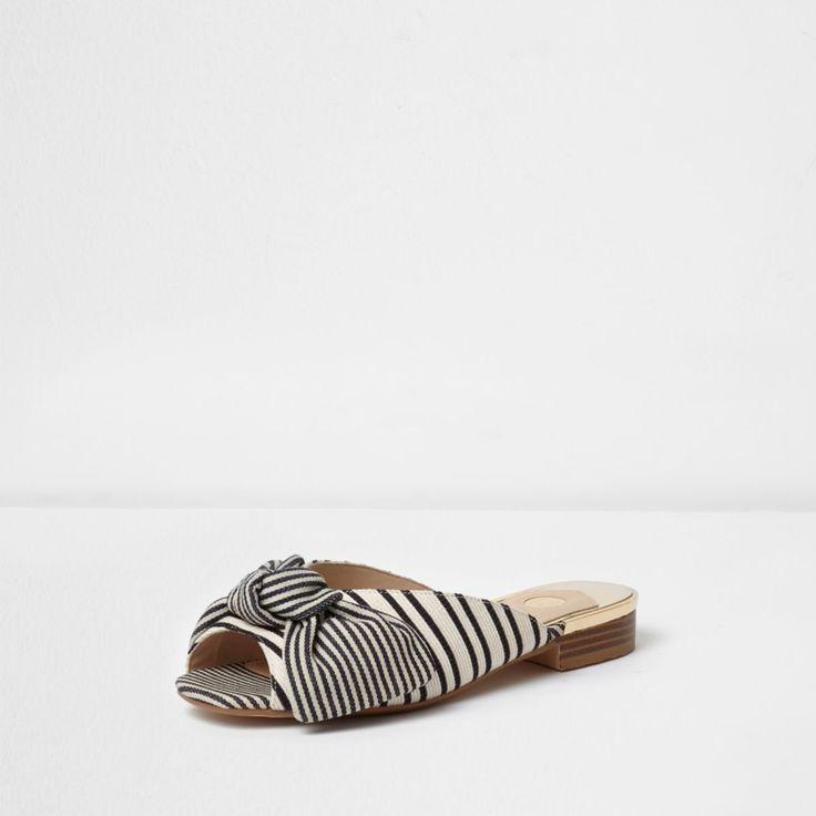 Woven fabric upper Stripe print Knot front Peep toe Slip on style