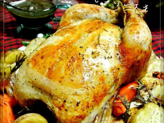 丸鶏のローストチキン♡グレービーソースもの画像