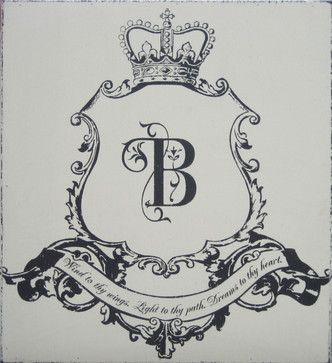 Family Crest Hand Painted Antique Sign - Modern - Baby Bedding ...