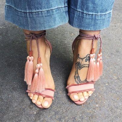 pink tassel heels