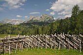 zaun, holzzaun, frommer niederalm, tennengebirge,werfenweng, alpen, gipfel, berg, berge, hochgebirge, österreich, - Stock Photo