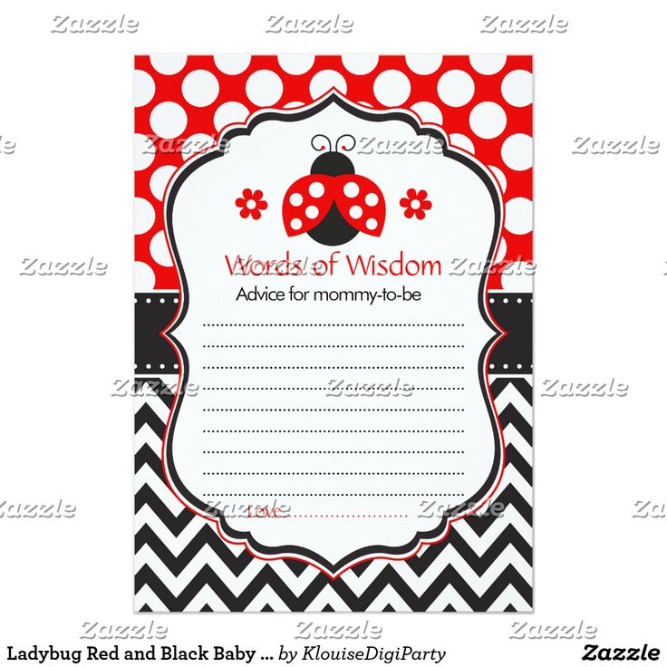 Ladybug Red and Black Baby Shower Words of Wisdom Card