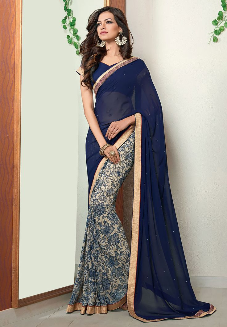 Buy Dark Blue and Off White Faux Georgette Saree with Blouse online, work: Printed, color: Dark Blue / Off White, usage: Casual, category: Sarees, fabric: Georgette, price: $44.55, item code: SBJ2604, gender: women, brand: Utsav