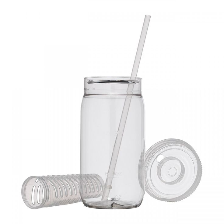 USA Made Soft Plastic Mason Jar w/ Fruit Infuser, 22 oz - Save A Cup