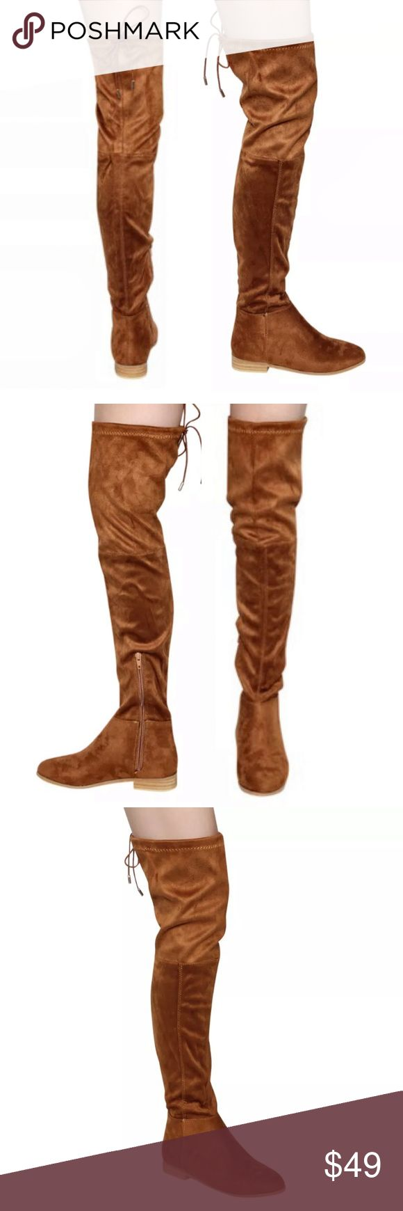 🆕List! Chestnut Suede Flat Knee Boots! NEW! Gorgeous chestnut vegan suede! Inside partial zip and drawstring tie top. Heel height 1.25 inches. Shaft height 24.25 inches. Shaft circumference 16.25 inches. Size 7. New in box. LC:shsf6 Boutique Shoes Over the Knee Boots