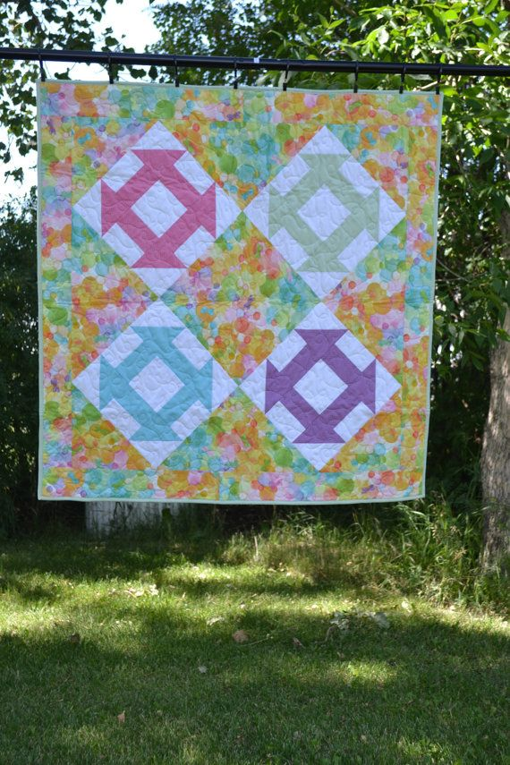 Pastel Brights Baby Quilt Pram Quilt Minky Baby от MagpieQuilts
