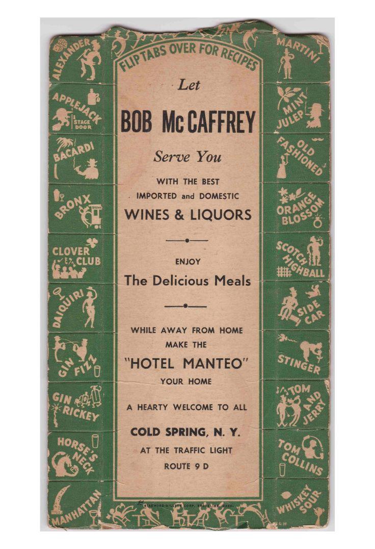 Cocktails Hotel Manteo Cold Spring NY 1933 Post Prohibition Menu Vintage Menu Revival Love Menu Art Archival Prints Love Menu Art Vintage Menu Prints