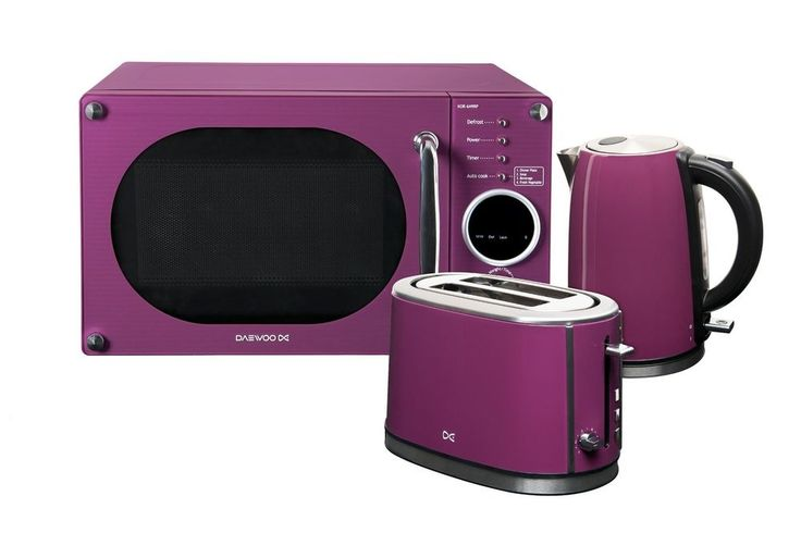 Daewoo Microwave Toaster and Kettle Package - Purple Purple