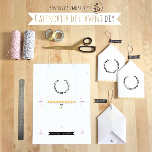 Calendrier de l'Avent DIY - Zü Free printable advent calendar (french and english versions).