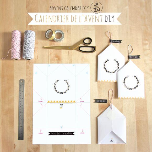 Calendrier de l'Avent DIY - Zü Free printable advent calendar (french and english versions).