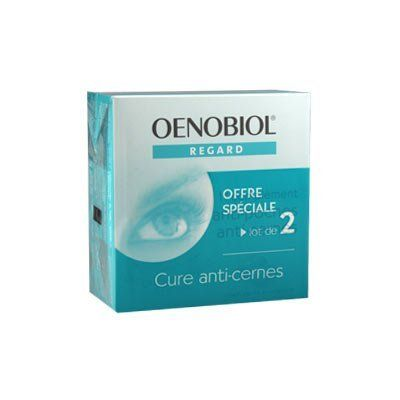 Oenobiol Regard Eye Contour (PACK OF TWO) by Oenobiol Regard Eye Contour (PACK OF TWO). $73.95. Acts on puffiness and dark circles. ? Indications : dark circles, puffiness.Works from within for rested and radiant eyes.  ? Exclusive formula of bilberry and grape-seed extracts.  ? Properties : bilberry and grape-seed extracts have been chosen for their activating properties of NO. NO, a molecule naturally synthesized in our body, stimulates the circulation and the ...