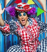 CBeebies Panto: Jack And The Beanstalk. Dame Trott (Chris Jarvis). Image credit: British Broadcasting Corporation.
