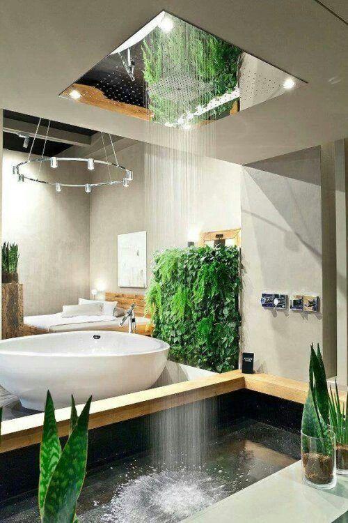 Tropical bathroom. décoration d'intérieur salle de bain puit de lumière fontaine intérieur mur végétal
