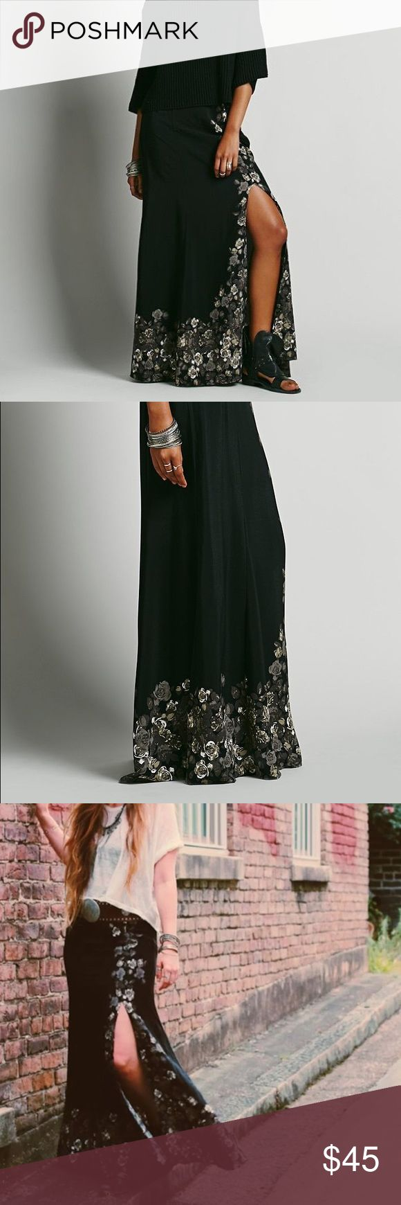 🌟Free People Long Maxi Floral Black Brown Skirt Worn once, in excellent condition. Size medium 8. 100% rayon. Free People Skirts Maxi