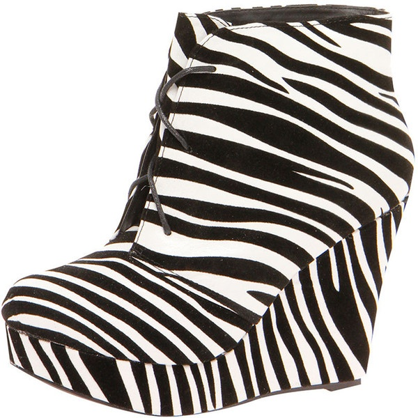 Katy Lace Up Zebra Print Wedge Shoe Boots ($24) ❤ liked on Polyvore