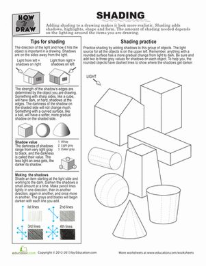 Third Grade Travel Games Worksheets: How to Draw Shading