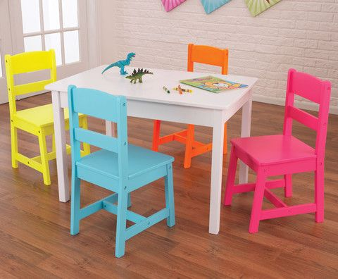 Kid Kraft Highlighter Table & 4 Chair Set - 26324 - Kid Kraft Pretend Play - Nurzery.com