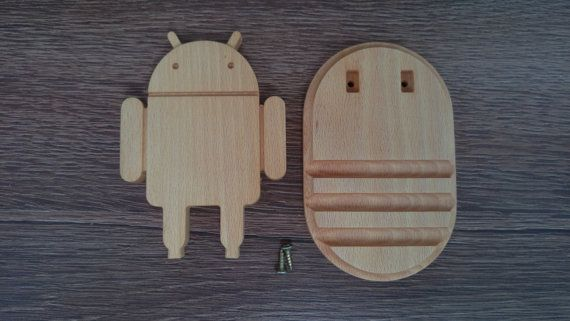 Wooden phone holder Android robot / phone stand от WoodDecorTM