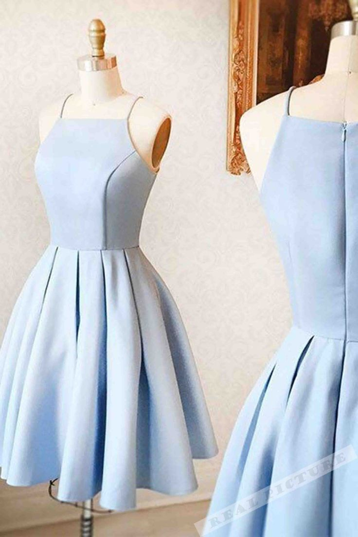Light blue satin prom dress, homecoming party dress, short prom dress for teens