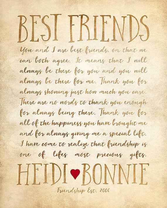 Custom Letter for Best Friend Art, Friendship Poem