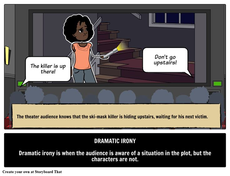 Find an example of dramatic irony with a picture storyboard. Learn dramatic irony definition, examples in a sentence and literature of literary term & device