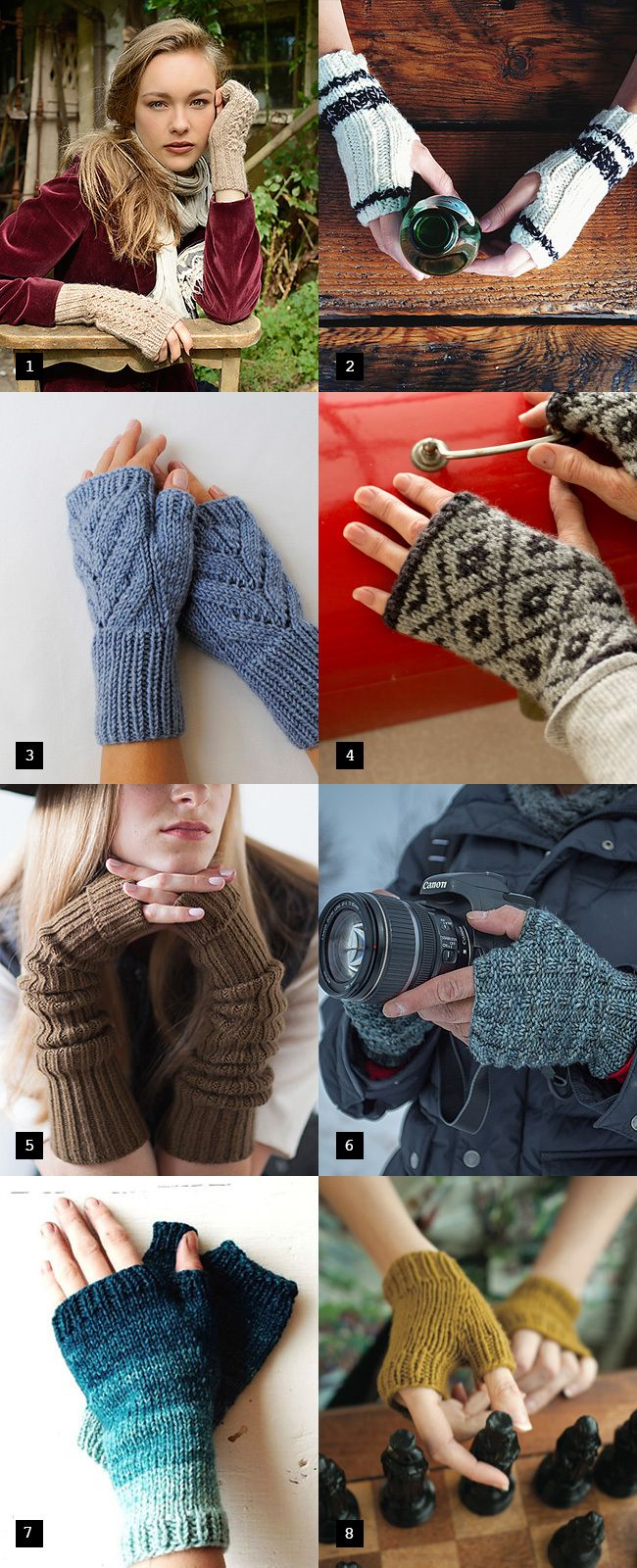 Holiday knitting cheat sheet: Warm hands, warm heart - mitones de lana