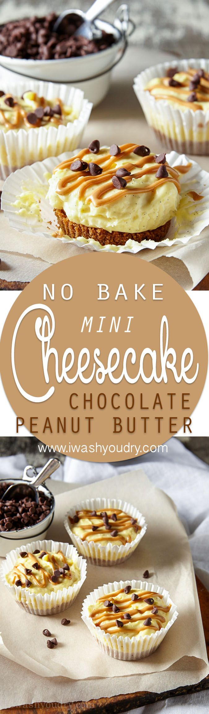 These Mini No Bake Chocolate Peanut Butter Cheesecakes have a Reese's Puffs cereal crust with a creamy vanilla bean cheesecake and a swirl of peanut butter on top. So easy and totally delicious!