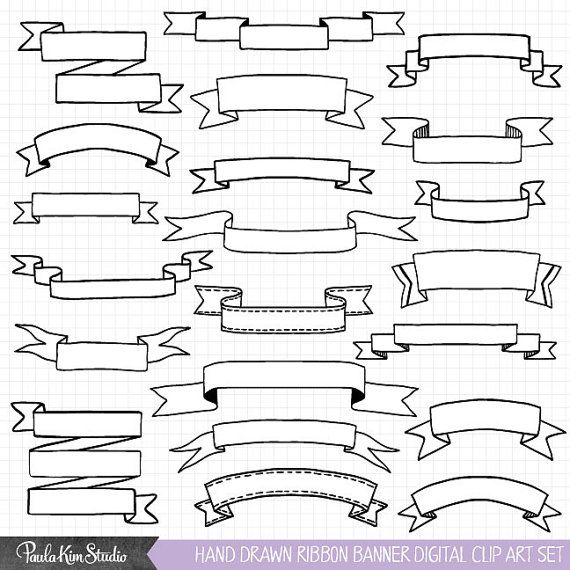 Hand Drawn Banner Clipart, Ribbon Banner Clip Art, Commercial Use Vector Clipart, Instant Digital Download, Banner Images