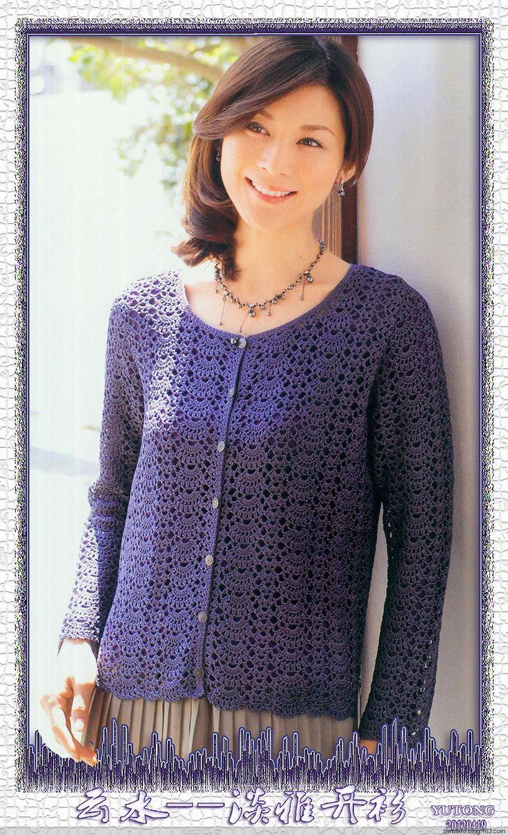 紫陌丁香作品-新月,长袖小清新开衫,附图解 - 紫陌丁香 - 紫陌丁香手工坊