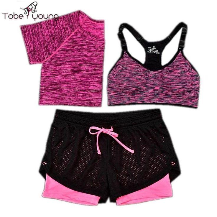 3pc Women Crop Top T-shirt Bra Shorts Tracksuit Sports Fitness Gym Set Bralette #Unbranded #TopPants