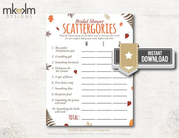 Bridal Shower Scattergories: Festive Fall Theme - Bridal Shower Game -2 Sizes - INSTANT DOWNLOAD - #3107