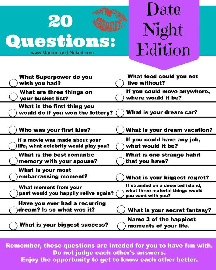 """Bring back the fun in your date nights and get to know each other all over again with this free printable of """"20 Questions; Date Night Edition."""" Your next date night will be a huge success with these fun conversation starters."""