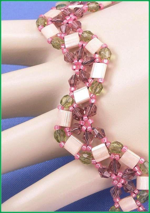 """05-415 Rose zaad kraal, Green Brand gepolijst, rode Bicone, Cramel Tila parel armband samen met een hart Toggle gesp. """"GRATIS VERZENDING"""""""