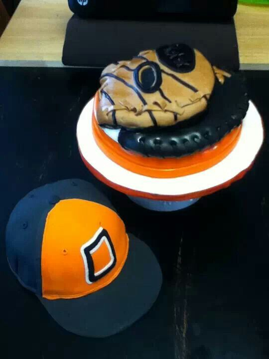 OSU baseball hat and glove cake by Three Tiers for Cake
