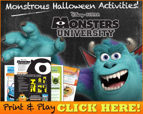 Download Monstrous Halloween Activities  #MonstersUniversity #FREE #Printables #Halloween #KidsActivities