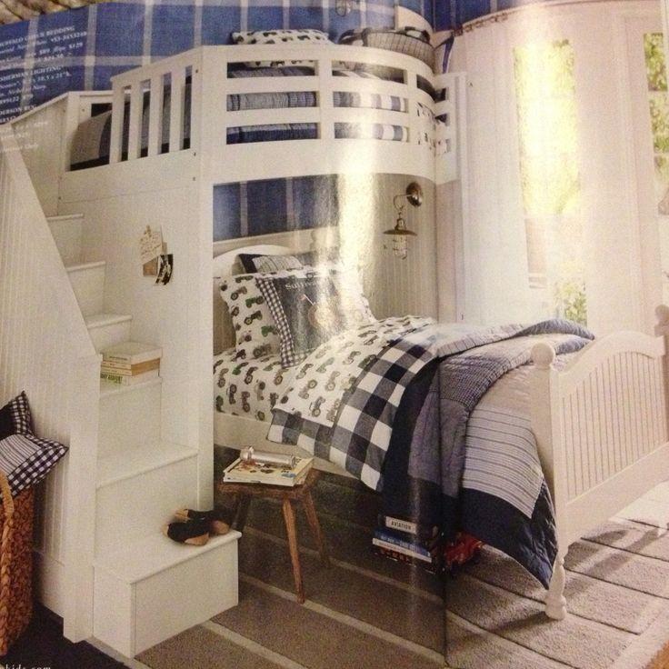 cool pottery barn bunk bed diy boys room pinterest. Black Bedroom Furniture Sets. Home Design Ideas