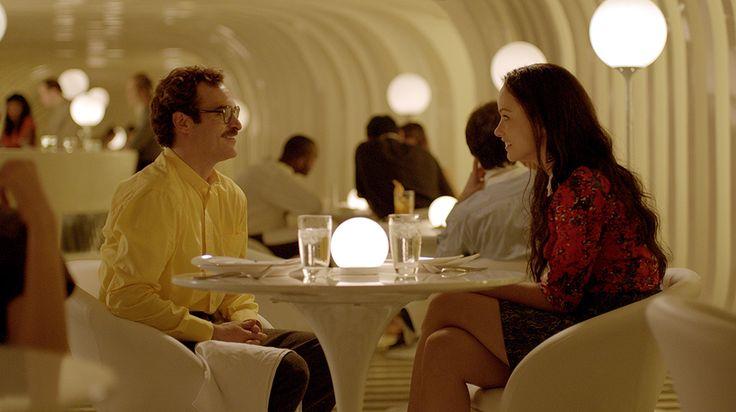 Her. Dinner date scene. Light globes.