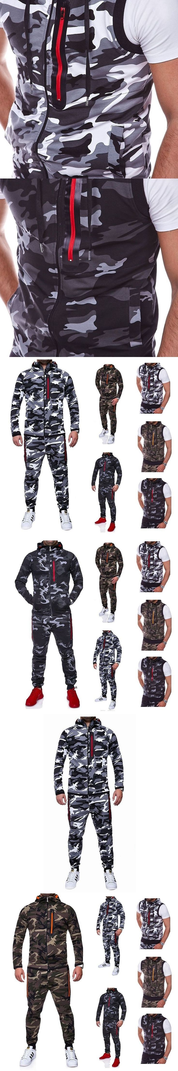 New Fashion Men's Sets long-Sleeved Sweatershirts+pants+Zipper Vest Men Three-piece suit Casual Camouflage Male Sportwear Suits #menssuitscasual