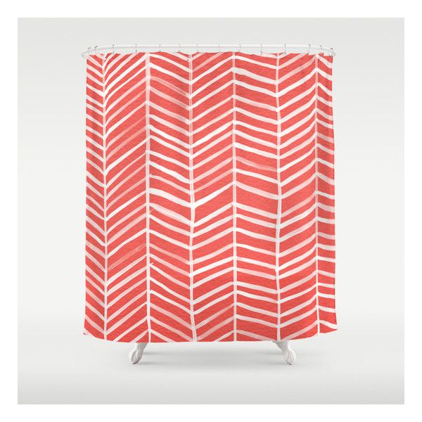 Coral Herringbone Shower Curtain 89 AUD Liked On Polyvore Featuring Home Bed