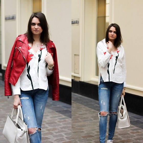 Get this look: http://lb.nu/look/8704371  More looks by Audrey: http://lb.nu/audrey_c  Items in this look:  Rosegal Shirt, Gina Tricot Skinny, Pimkie Jacket, Primark Bag   #fashion #spring #pimkie #ginatricot #primark